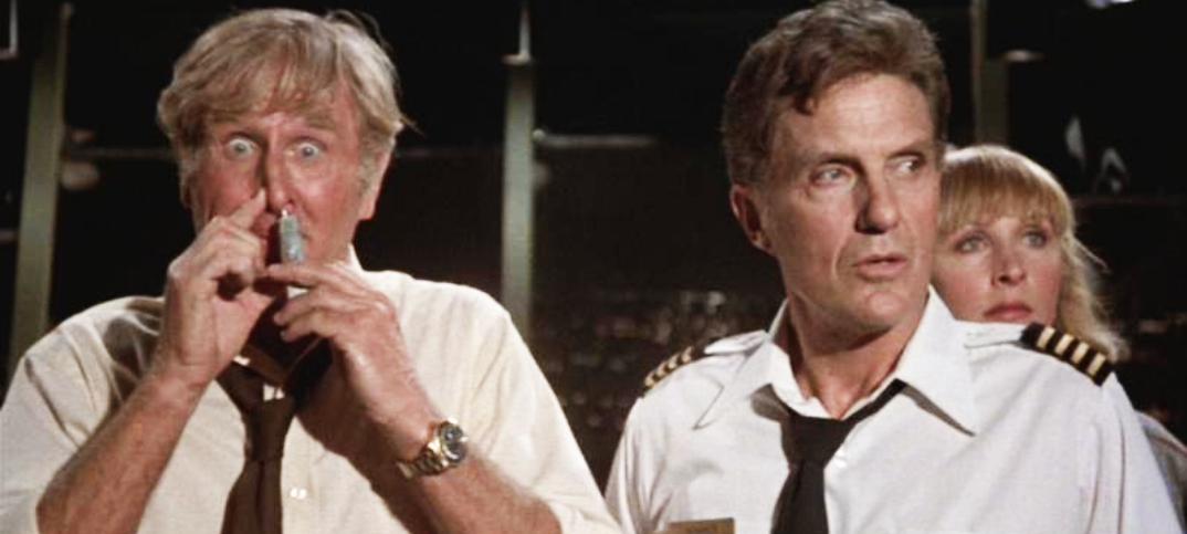 Lloyd Bridges sniffing glue in Airplane