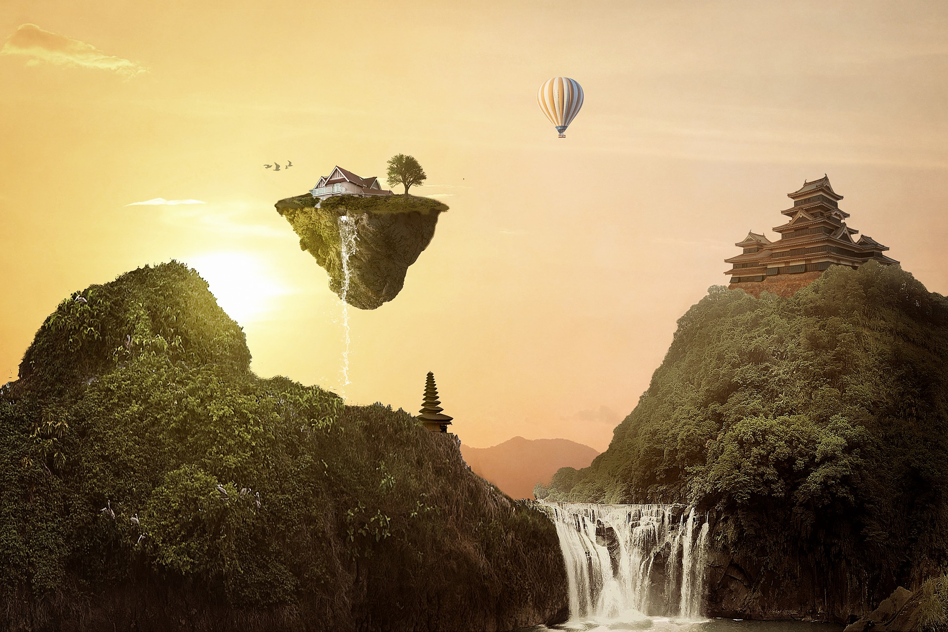Illustration of fantasy landscape with floating house